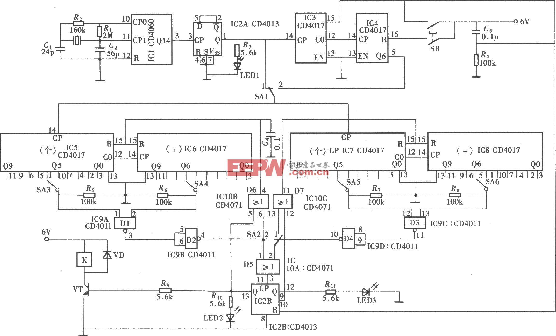 具有定时开、关和自动循环功能的定时器(CD4013、CD4060、CD4017)