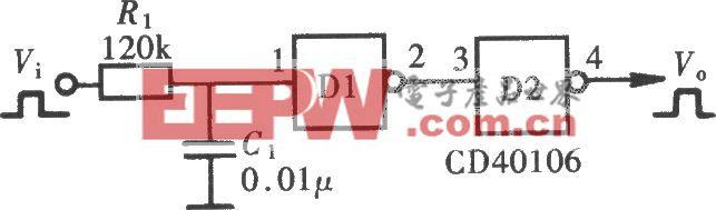 用门电路组成的脉冲延迟电路(CD40106)