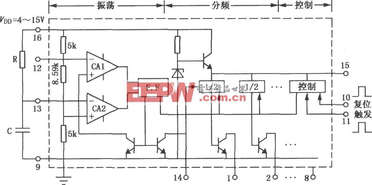 集成计数式定时器XR2240组成的定时电路