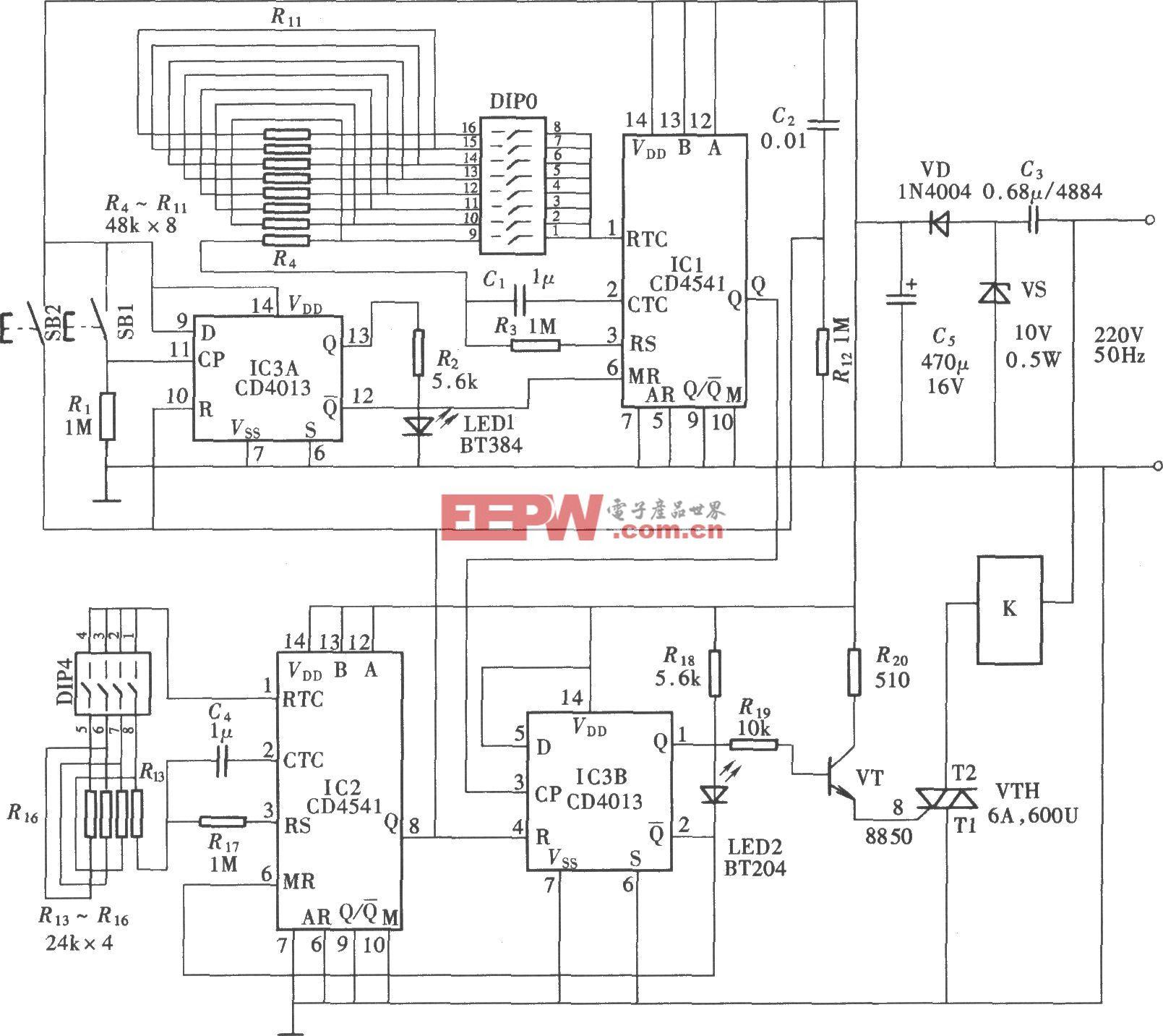 由CD4541组成的有开/停选择功能的定时器