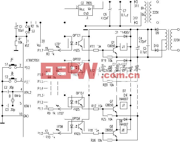 用89C2051制作八路电热水器顺序延时开关控制
