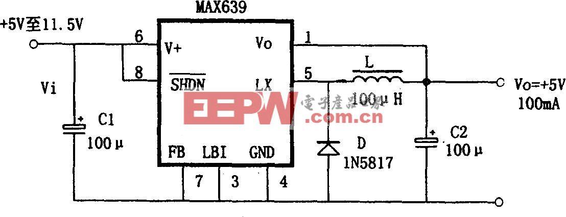 由MAX639构成的 5V固定输出的降压式变换电源