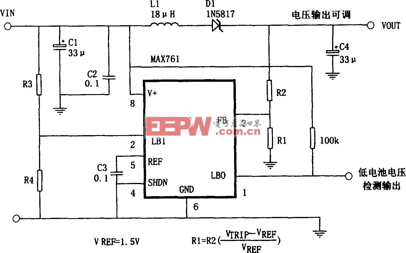 MAX761构成的可调输出升压电源