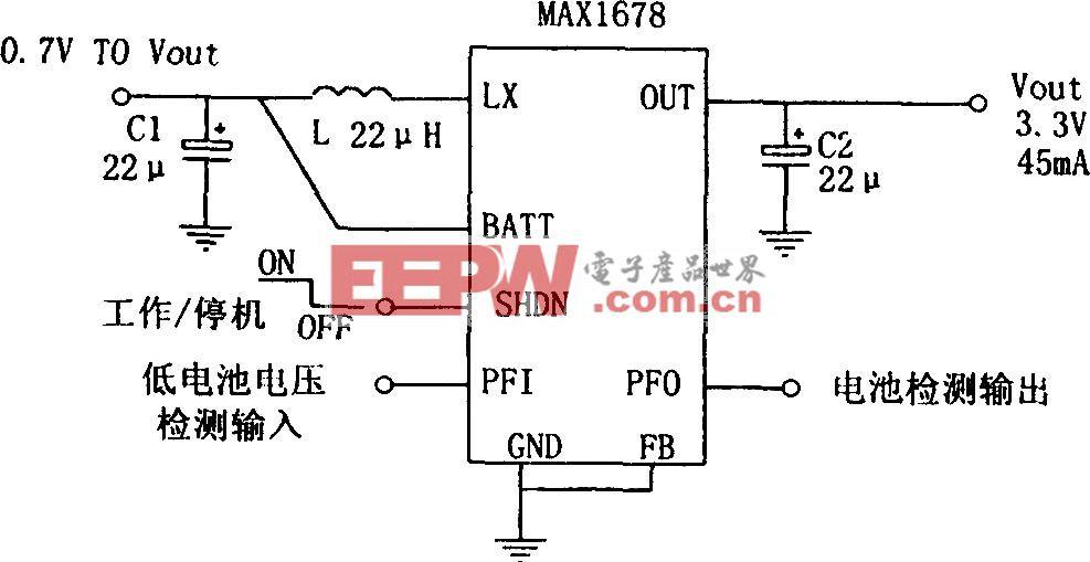 MAX1678构成的适用于寻呼机的高效率单电池升压电源