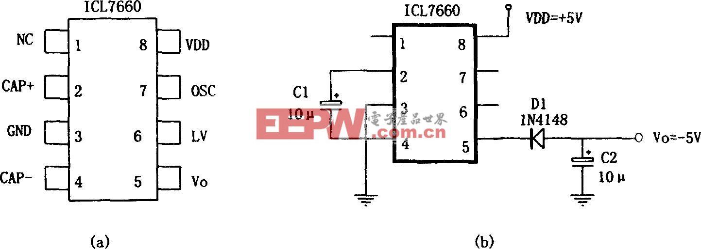 外部只需2只电容即可工作的极性变换电源(ICL7660)