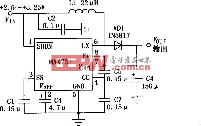 MAX731开关控制型DC-DC升压变换器