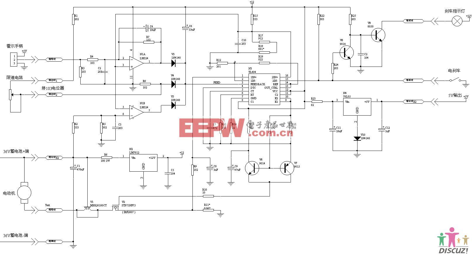 TL494电动车控制器电路图