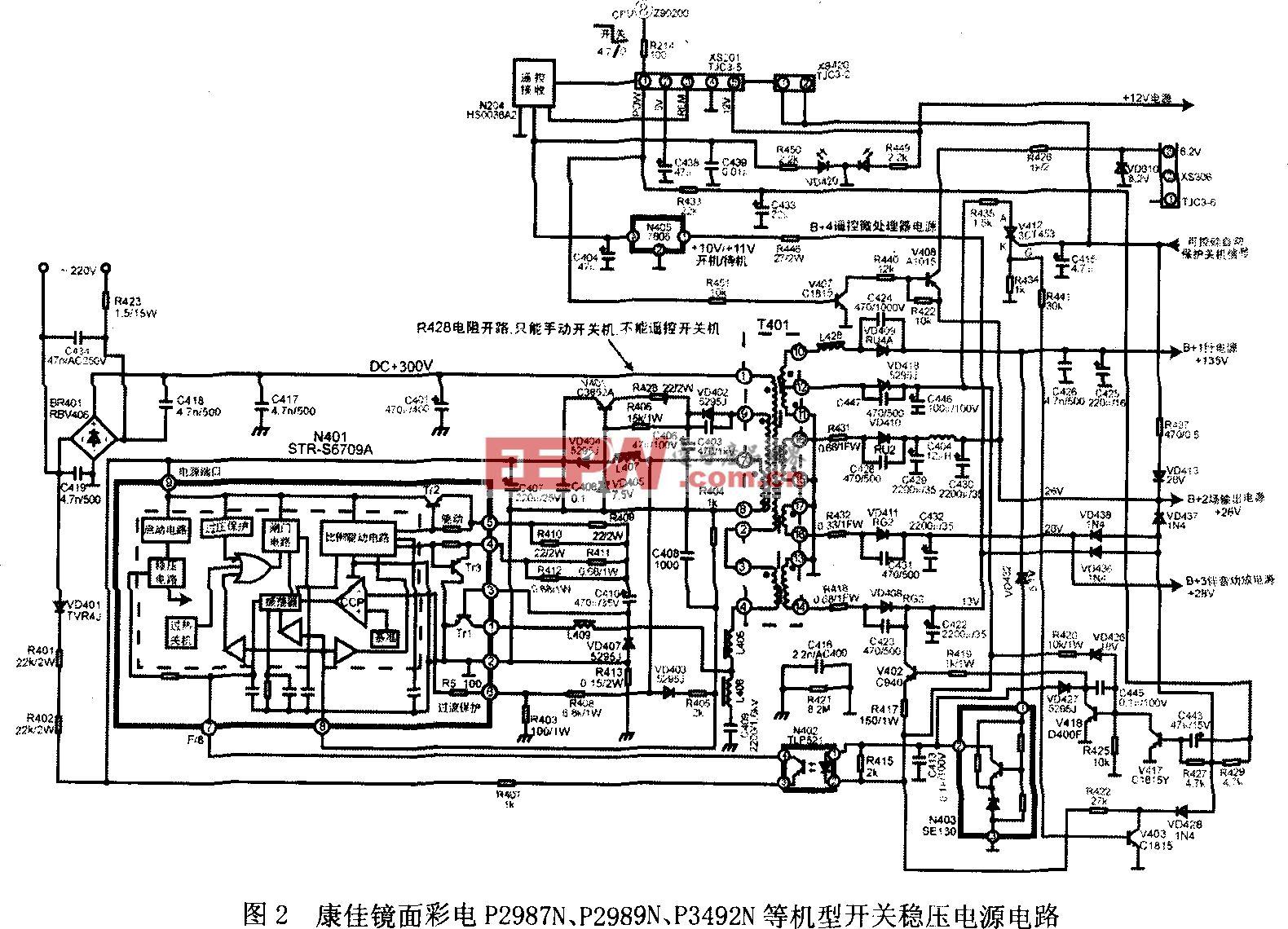 康佳镜面彩电P2987N、P2989N、P3492N等机型开关稳压电源电路
