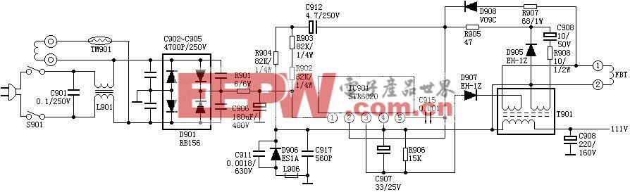 由STR6020厚膜块组成的电源电路图