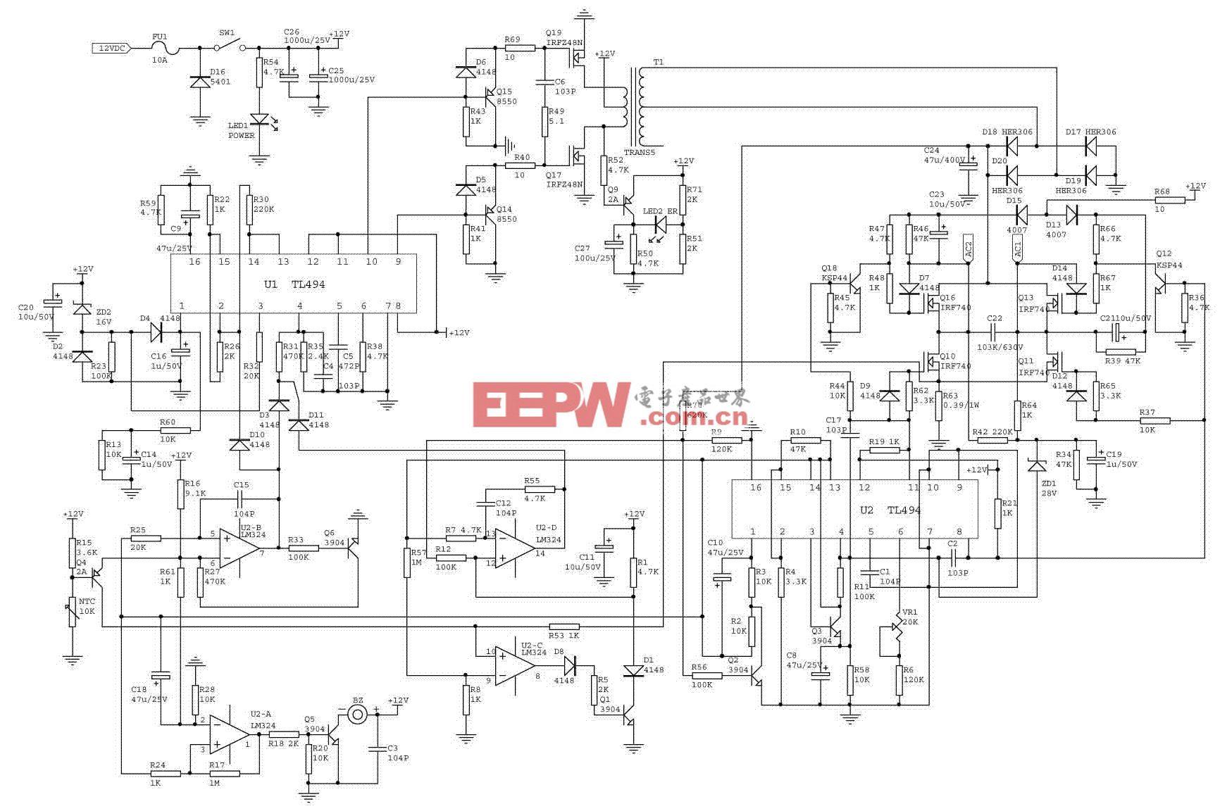 12伏1000瓦正弦波功率逆变器设计流程(一)