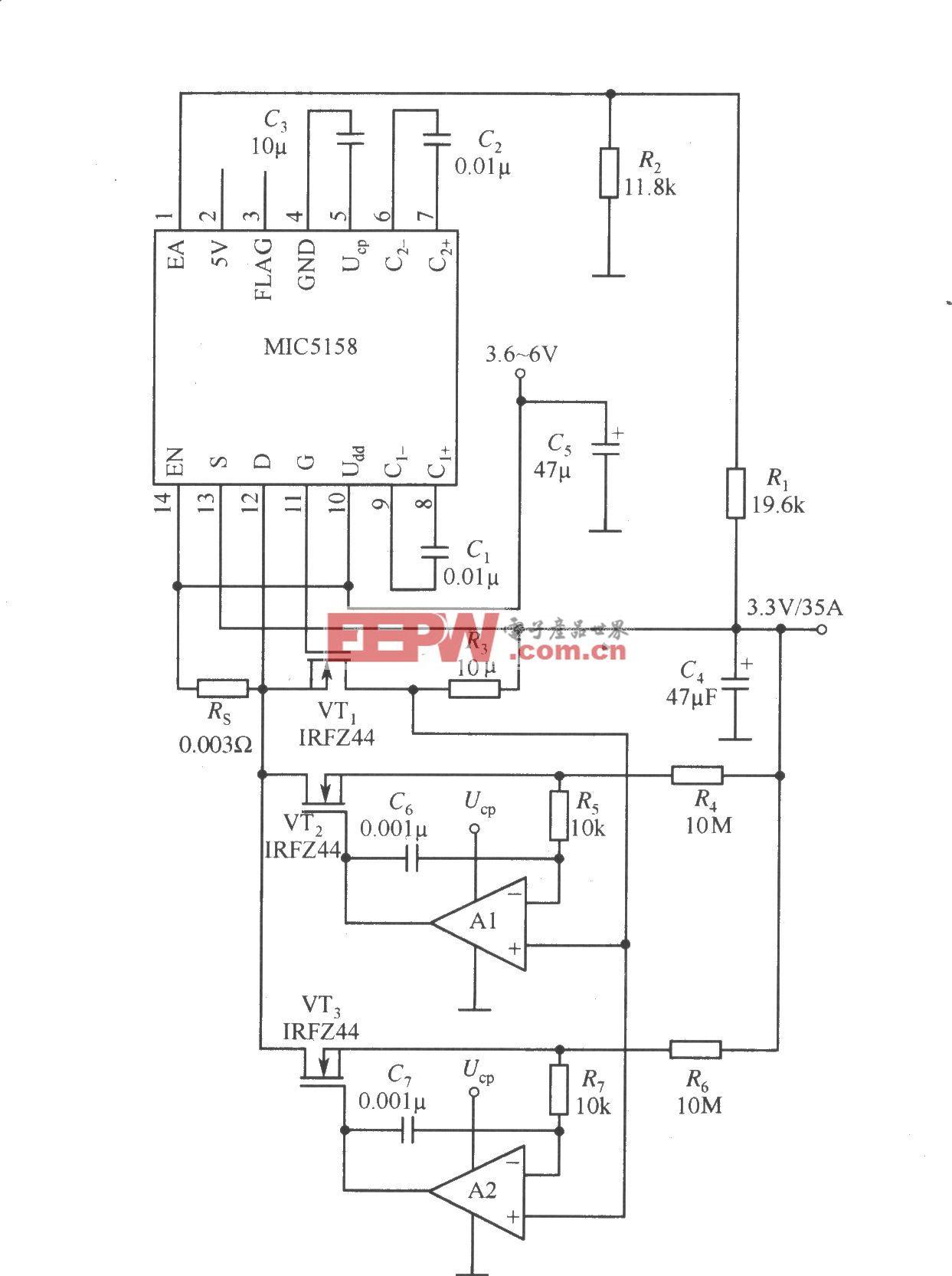 多个MOSFET管并联构成的大电流输出线性稳压器电路(MIC5158)