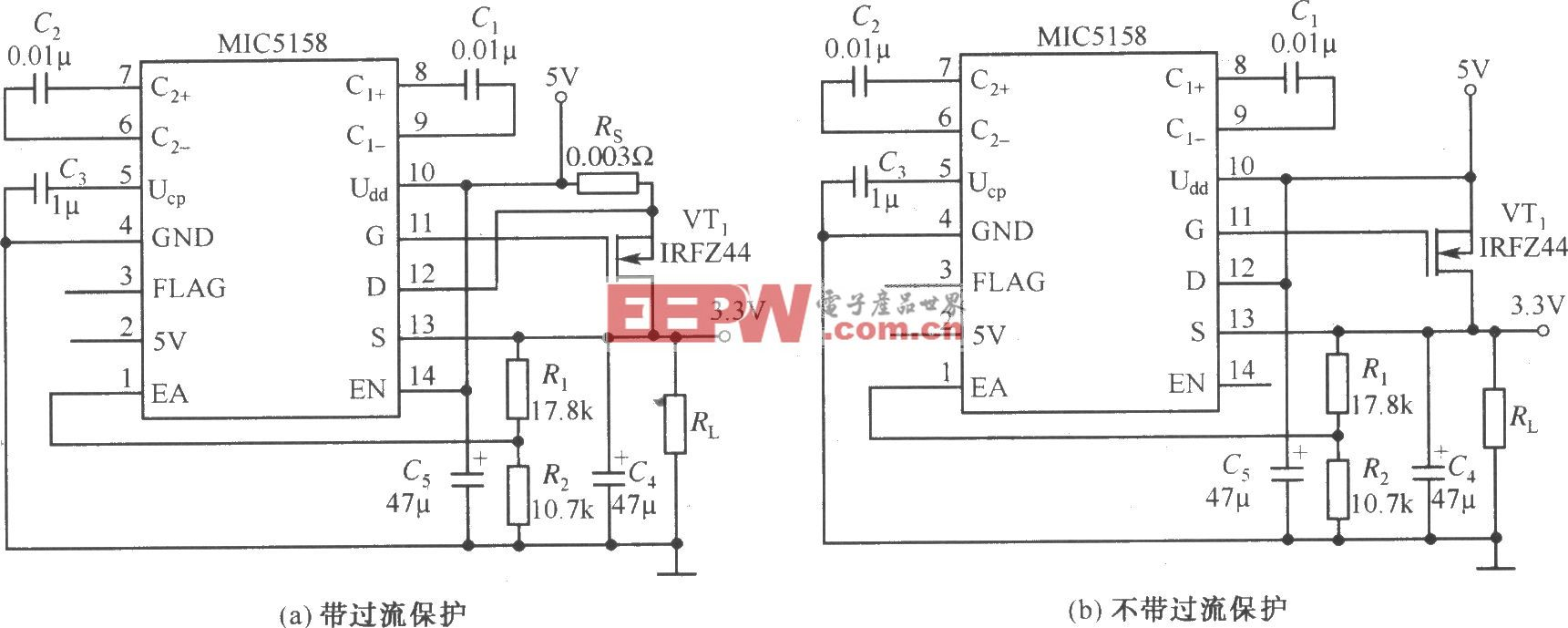 MIC5158构成的外围电路简单的5V输入、3.3V/10A输出的线性稳压器电路