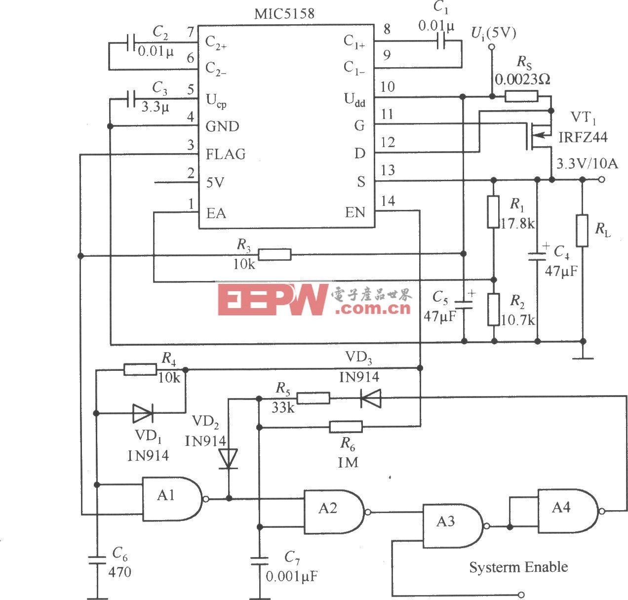 MIC5158与一些其他器件构成的5V输入、3.3V/10A输出并且具有短路保护功能的线性稳压器电路