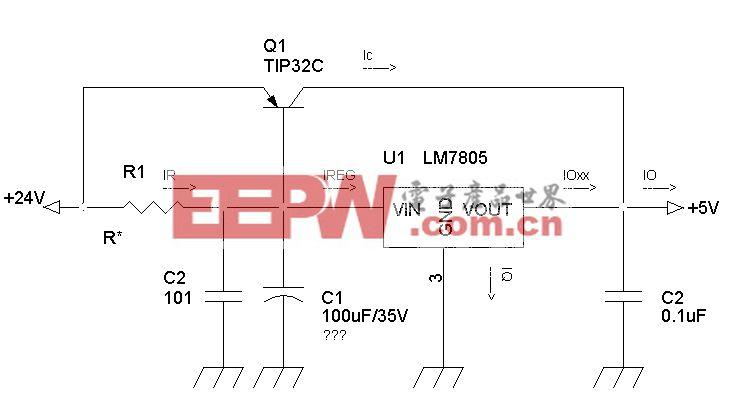一个线性三端稳压器扩流电路