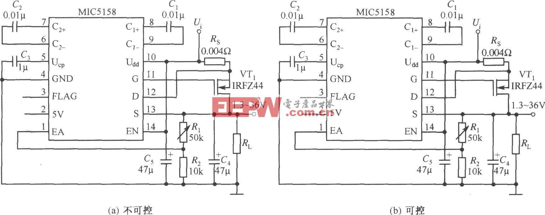 MIC5158构成的输出电压可调的线性稳压器电路