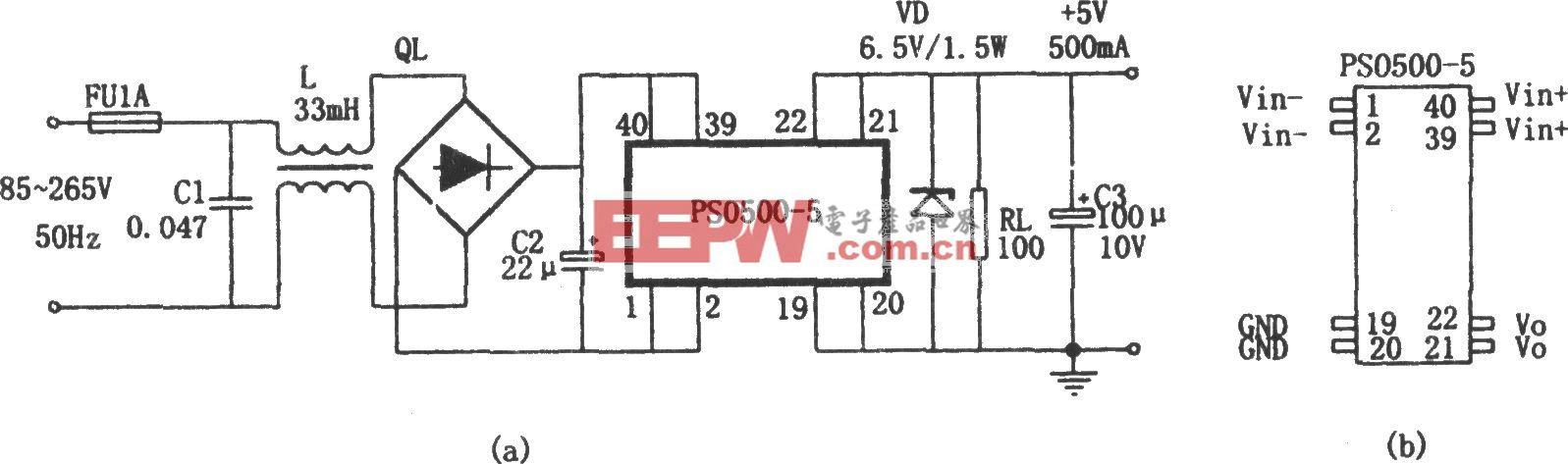 由PS0500―5电源变换模块构成的无变压器稳压电源