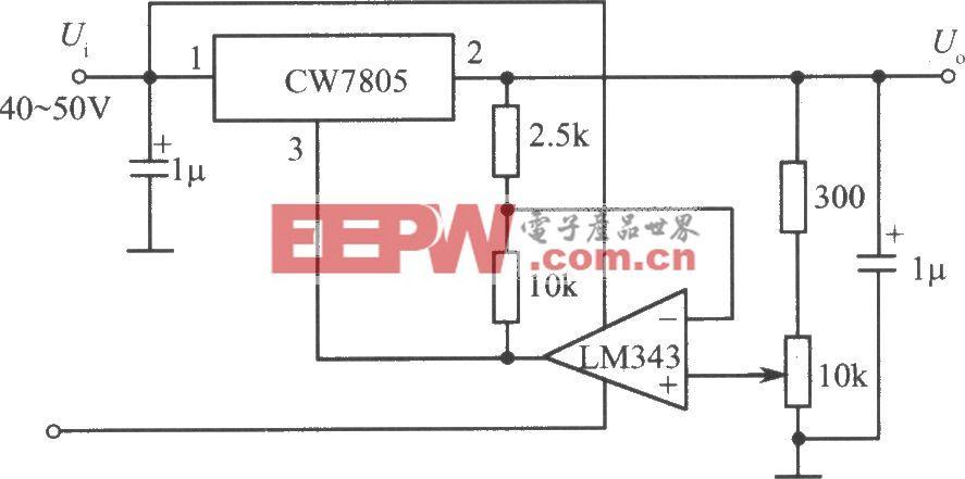 由CW7800和LM343构成1~35V的可调输出稳压电源电路