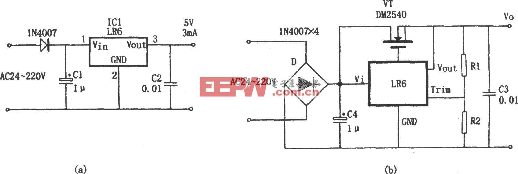 由LR6构成的不用变压器的稳压电源