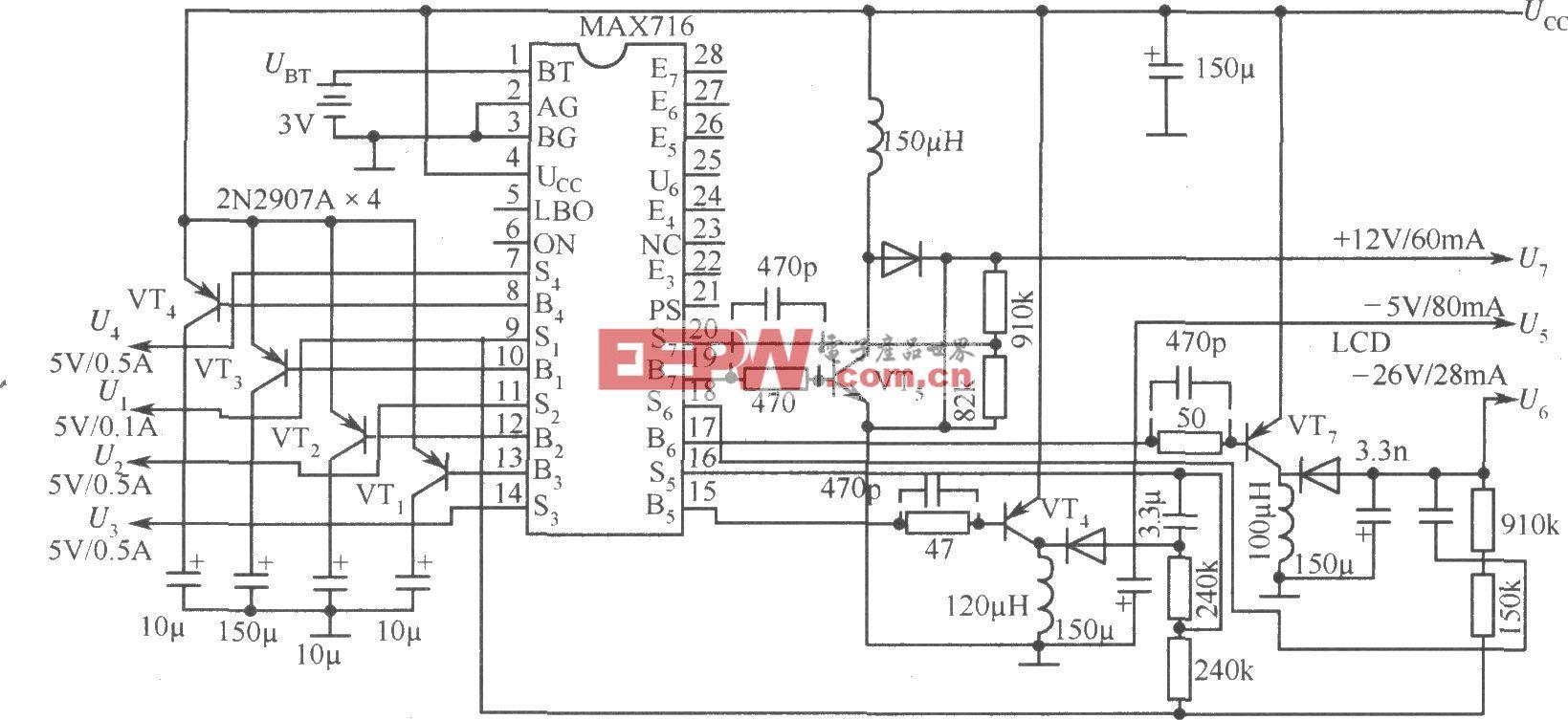 由MAX716构成的微处理器电源电路