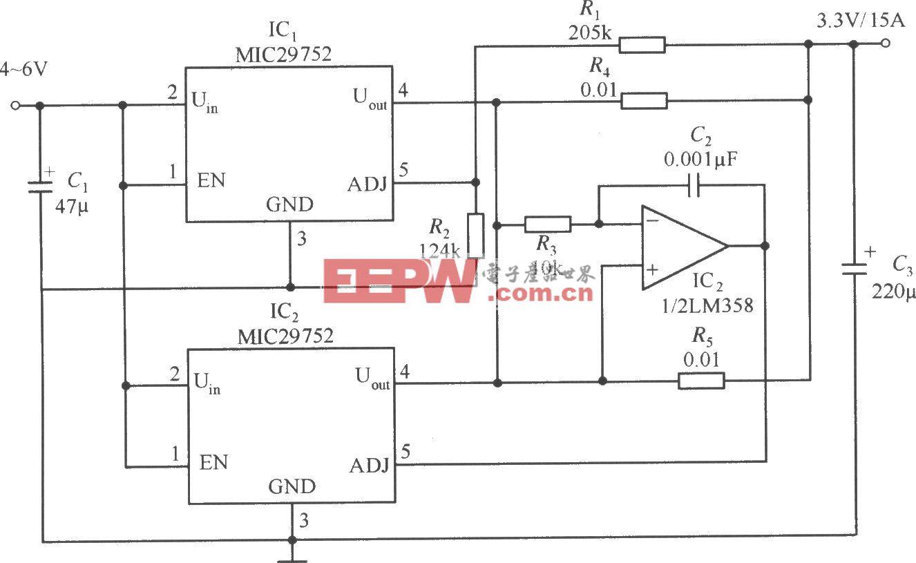 两片MIC29752并联工作构成的稳压器电路