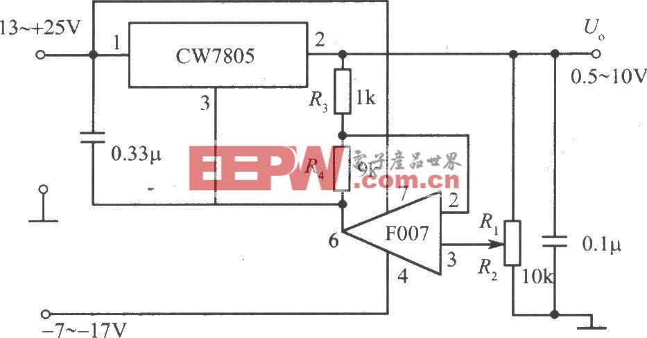 由CW7800和F007构成的输出电压可下调到0.5V的集成稳压电源电路