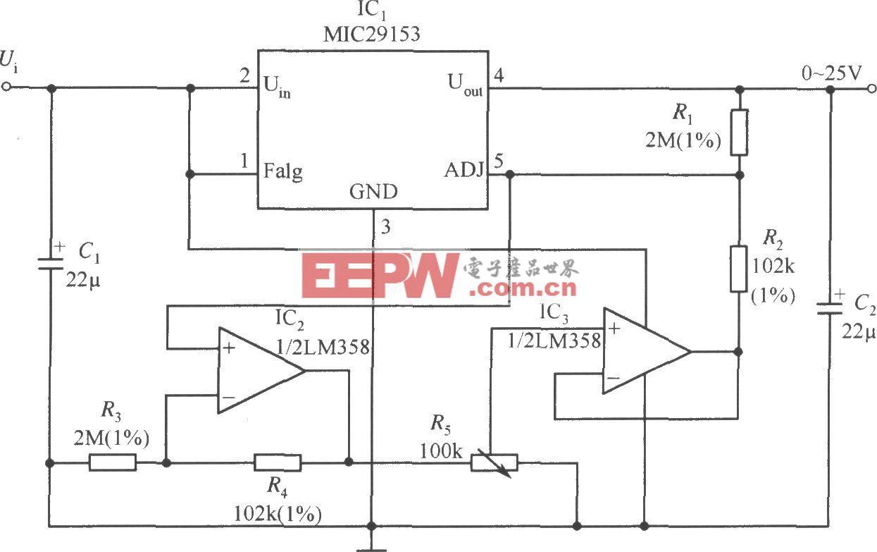 MIC29153構成的輸出電壓0~25V連續可調的穩壓器電路