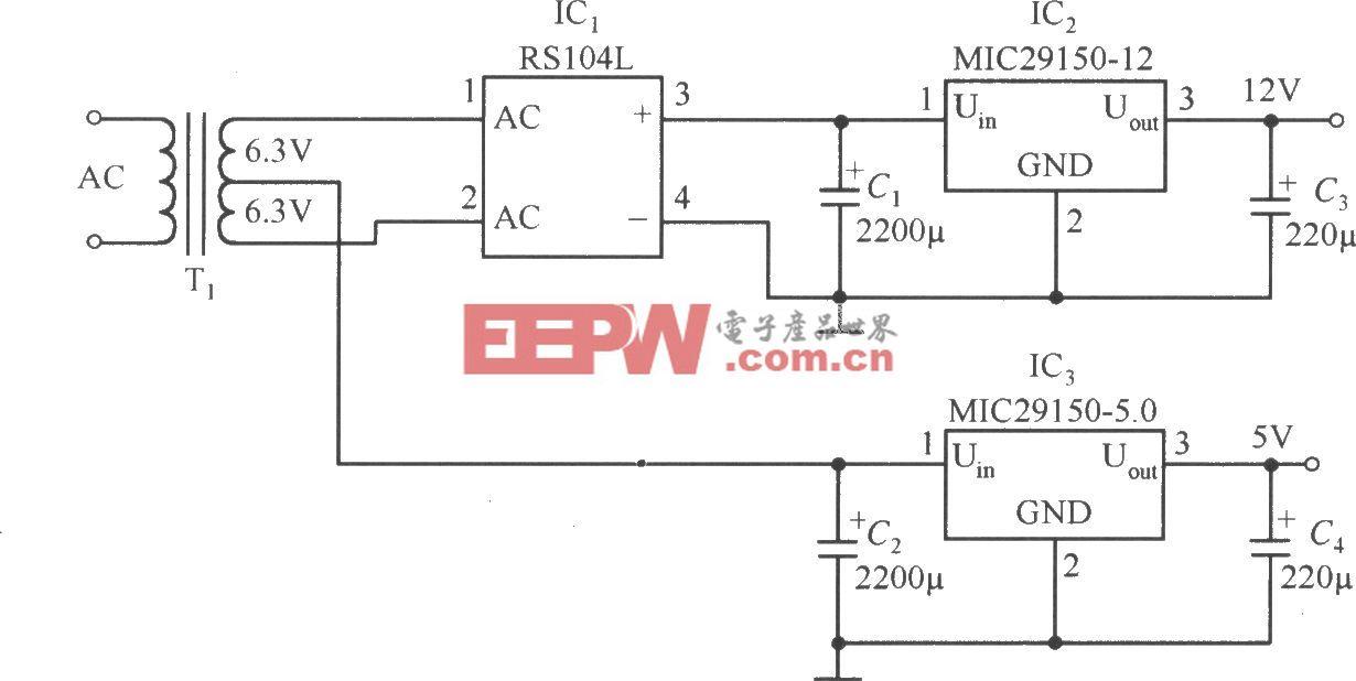 MIC29150-12和MIC29150-5.0稳压器构成的低成本的双路输出的稳压器电路