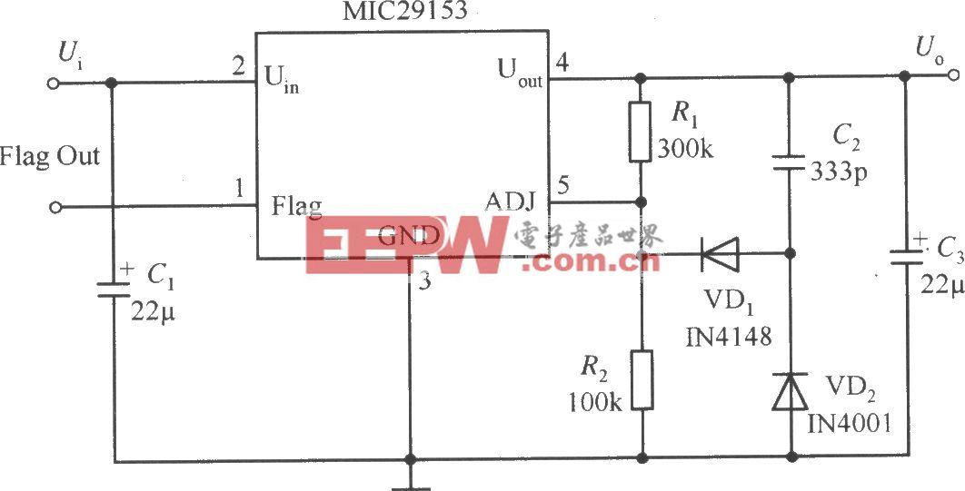 MIC29153构成的慢启动稳压器电路