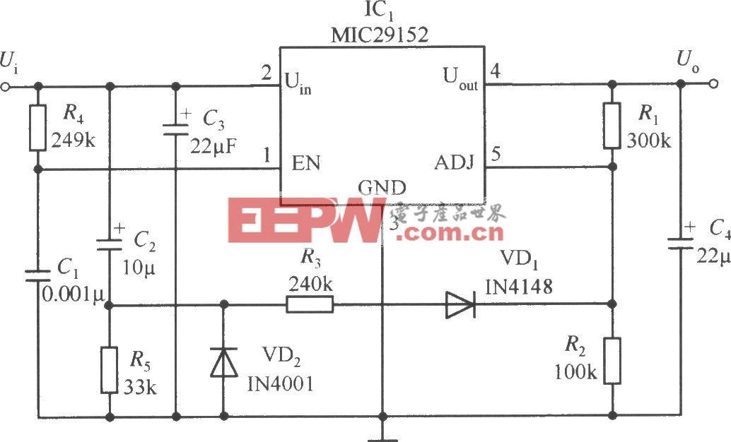 MIC29152构成的延迟启动的稳压器电路