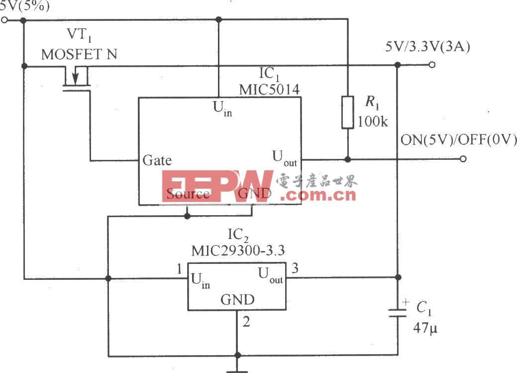 MIC29300-3.3和MIC5014构成的具有开关稳压器的效率和线性稳压器的高稳定度的稳压器电路