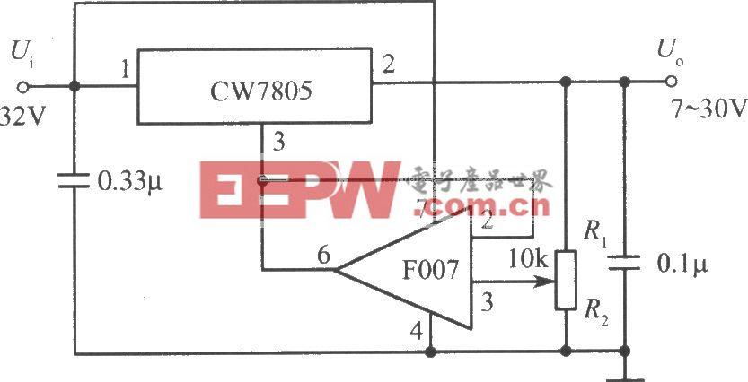 由CW7800和F007构成的7~30V的可调输出集成稳压电源电路