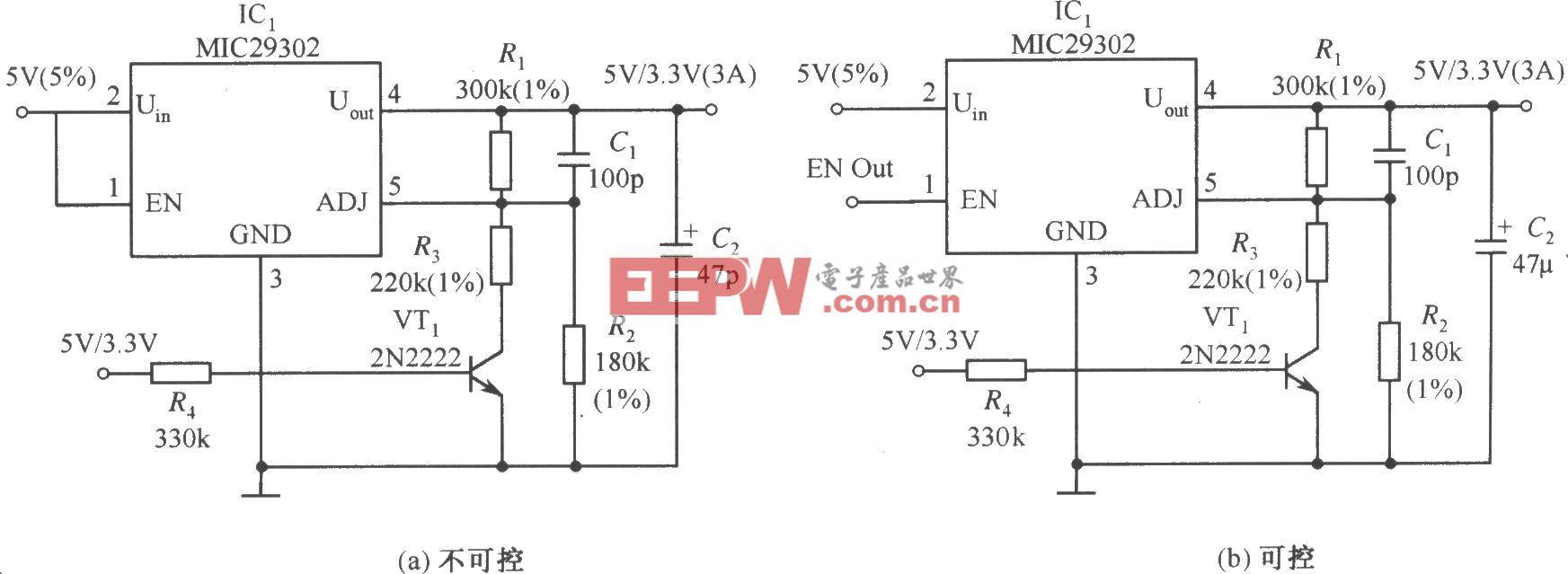 MIC29302构成的输出电压为3.3V/5V可选择的稳压器电路