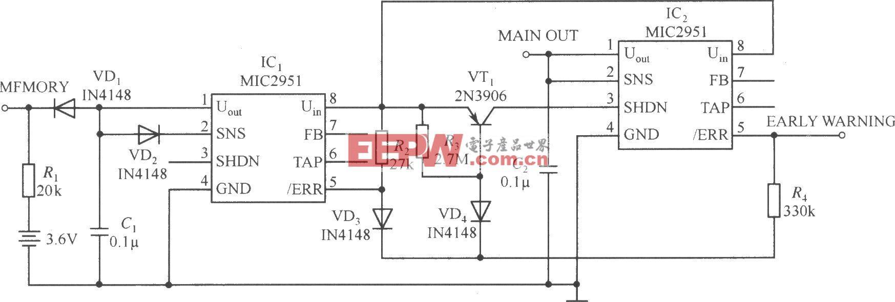 两片MIC2951构成的具有及时报警和补救输出功能的稳压器电路