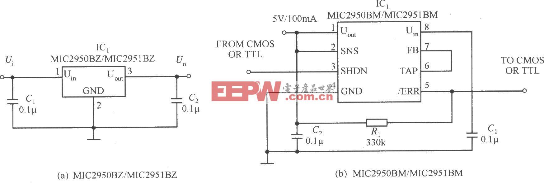 MIC2950/MIC2951构成的固定输出的稳压电源电路