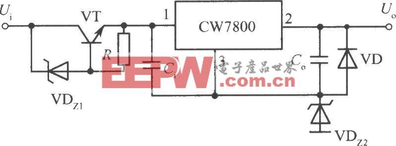 CW7800构成的高输入-高输出集成稳压电源电路之四