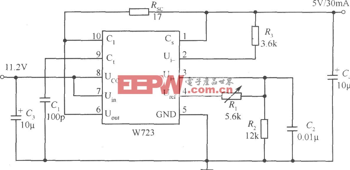 W723组成的输出电压比基准电压低的应用电路
