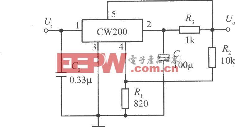 CW200構成的慢啟動集成穩壓電源
