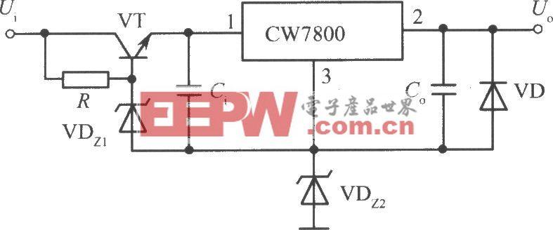 CW7800构成的高输入-高输出集成稳压电源电路之一