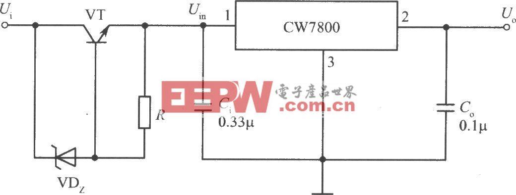CW7800构成高输入电压的集成稳压电源电路之一