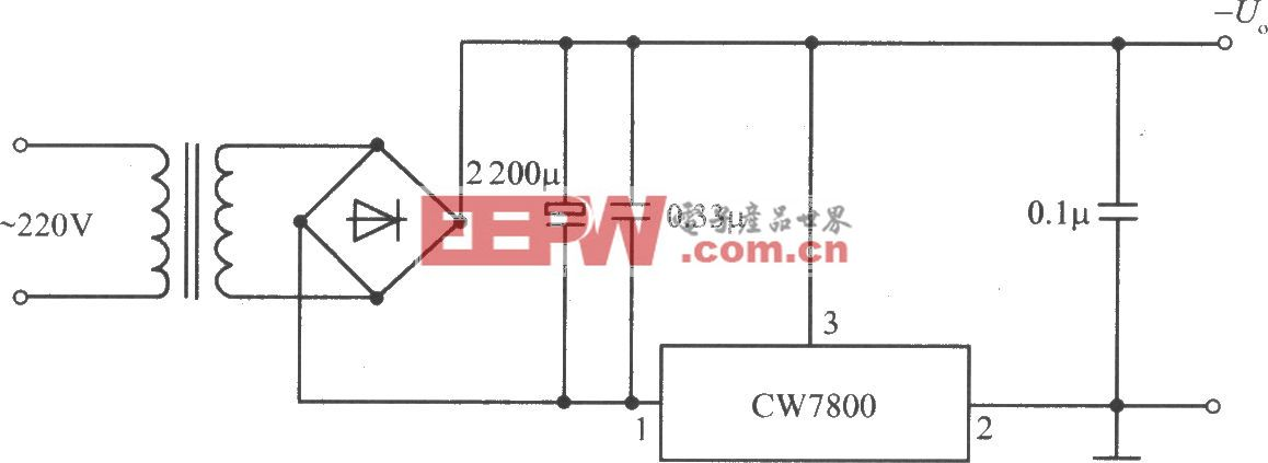 CW7800构成的固定负输出电压的集成稳压电源电路
