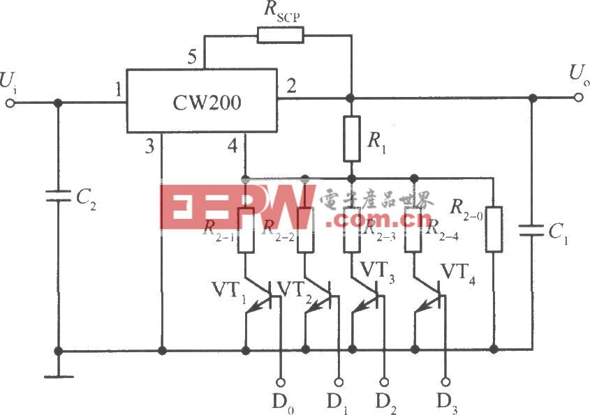 CW200組成的邏輯控制的集成穩壓電源