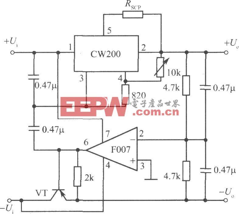 CW200构成的跟踪式集成稳压电源