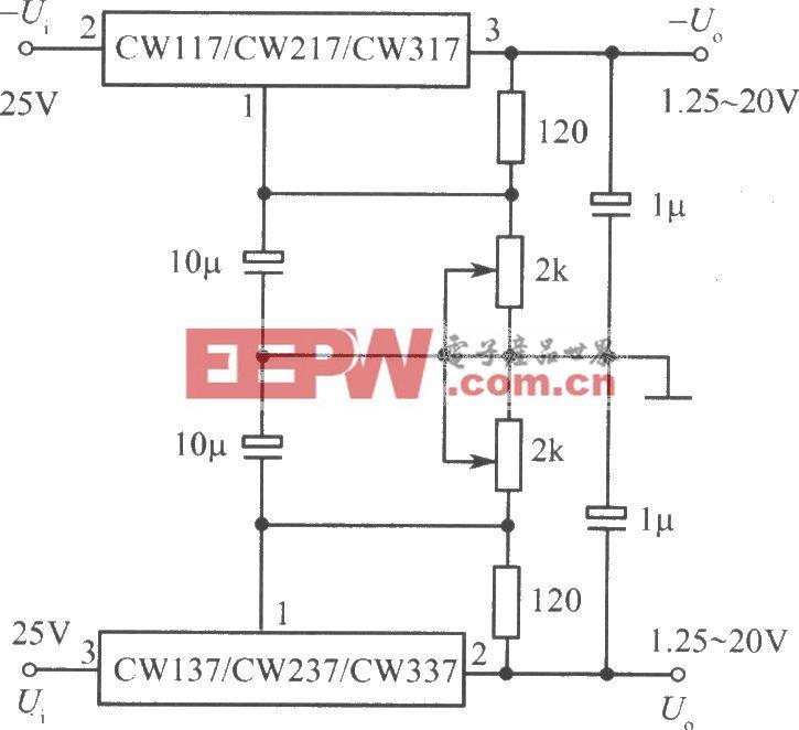 CW137/CW237/CW337构成的可调正、负输出电压集成稳压电源
