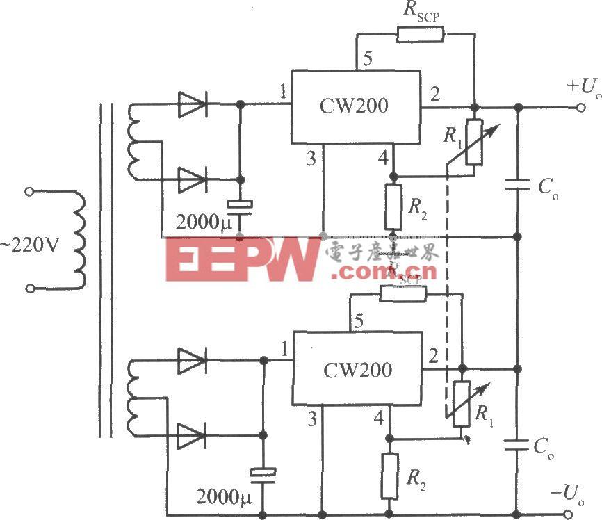 CW200构成的正、负输出电压集成稳压电源