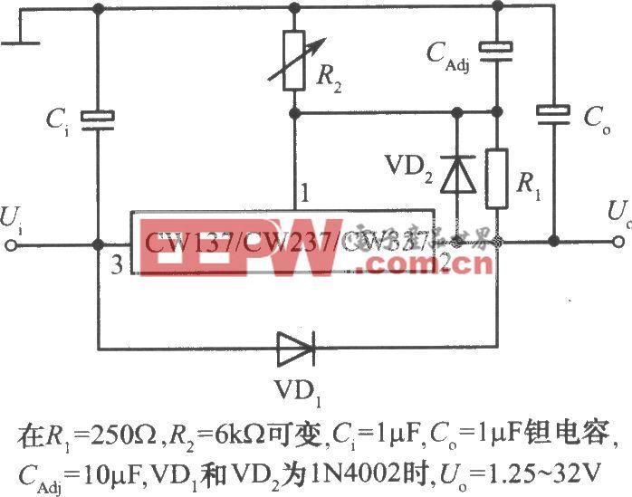 CW137/CW237/CW337构成的具有过压保护的集成稳压电源
