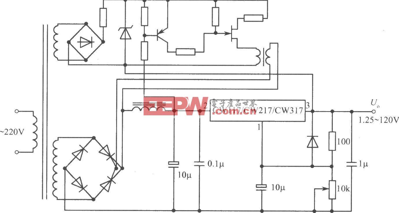 CW117/CW217/CW317构成的1.25~120V可调集成稳压电源
