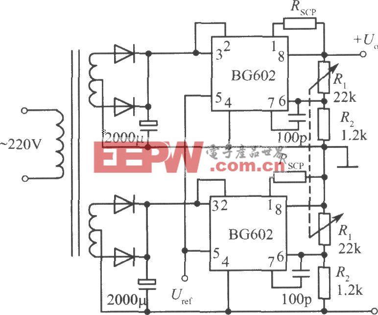 BG602构成的正、负输出电压集成稳压电源