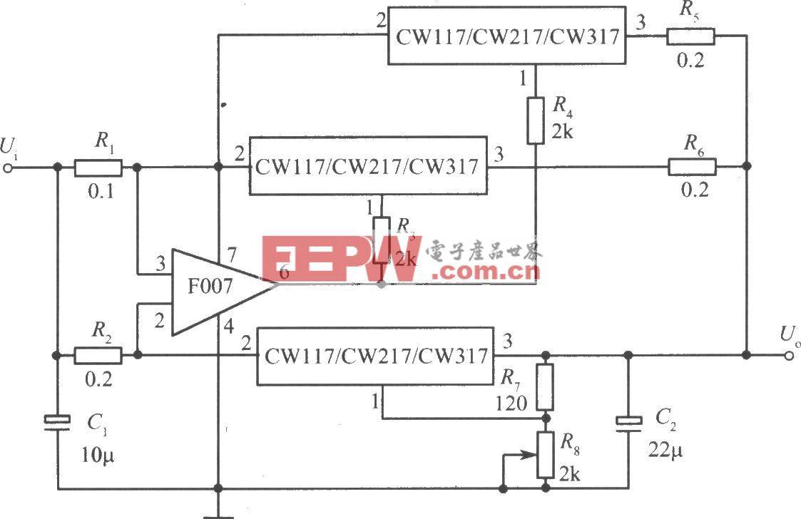 三只CW117/CW217/CW317构成的并联扩展输出电流