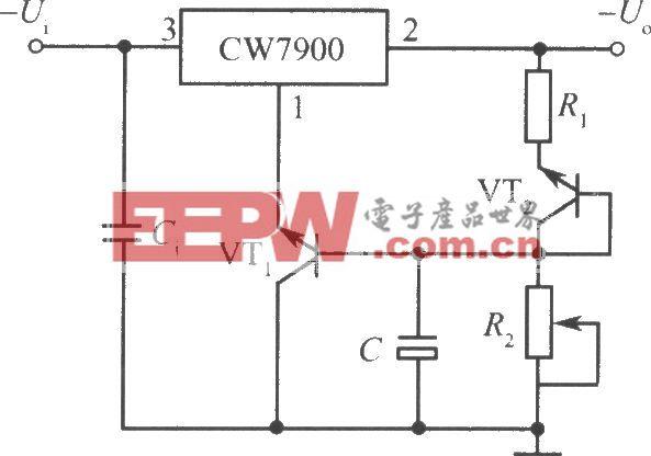 CW7900构成的具有温度补偿的可调输出集成稳压电源电路