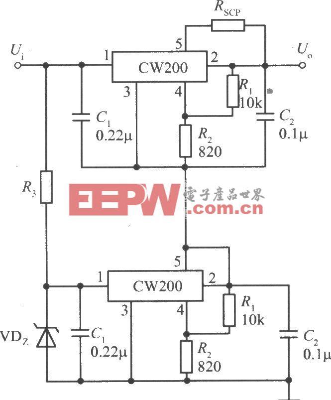 两个CW200输出电压叠加的集成稳压电源
